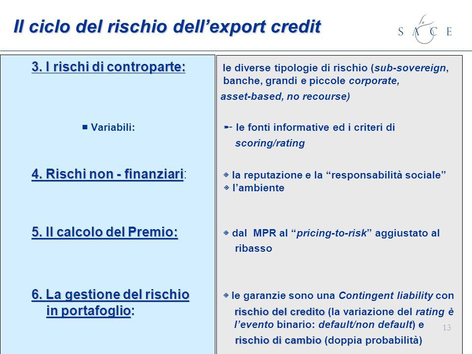 13 Il ciclo del rischio dellexport credit 3. I rischi di controparte: 3. I rischi di controparte: le diverse tipologie di rischio (sub-sovereign, banc