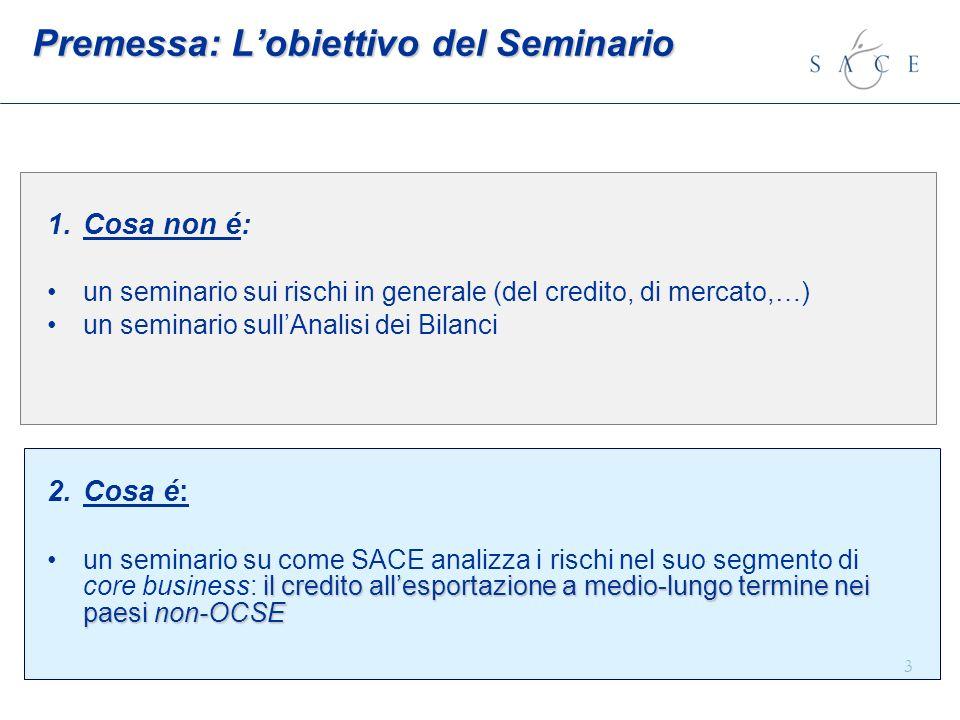 3 Premessa: Lobiettivo del Seminario 1.Cosa non é: un seminario sui rischi in generale (del credito, di mercato,…) un seminario sullAnalisi dei Bilanc