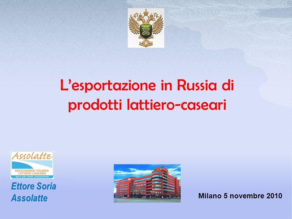 Lesportazione in Russia di prodotti lattiero-caseari Ettore Soria Assolatte Milano 5 novembre 2010