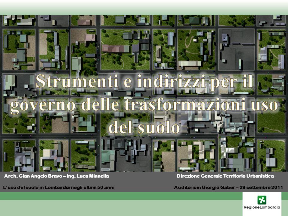Arch. Gian Angelo Bravo – Ing. Luca Minnella Direzione Generale Territorio Urbanistica Luso del suolo in Lombardia negli ultimi 50 anni Auditorium Gio