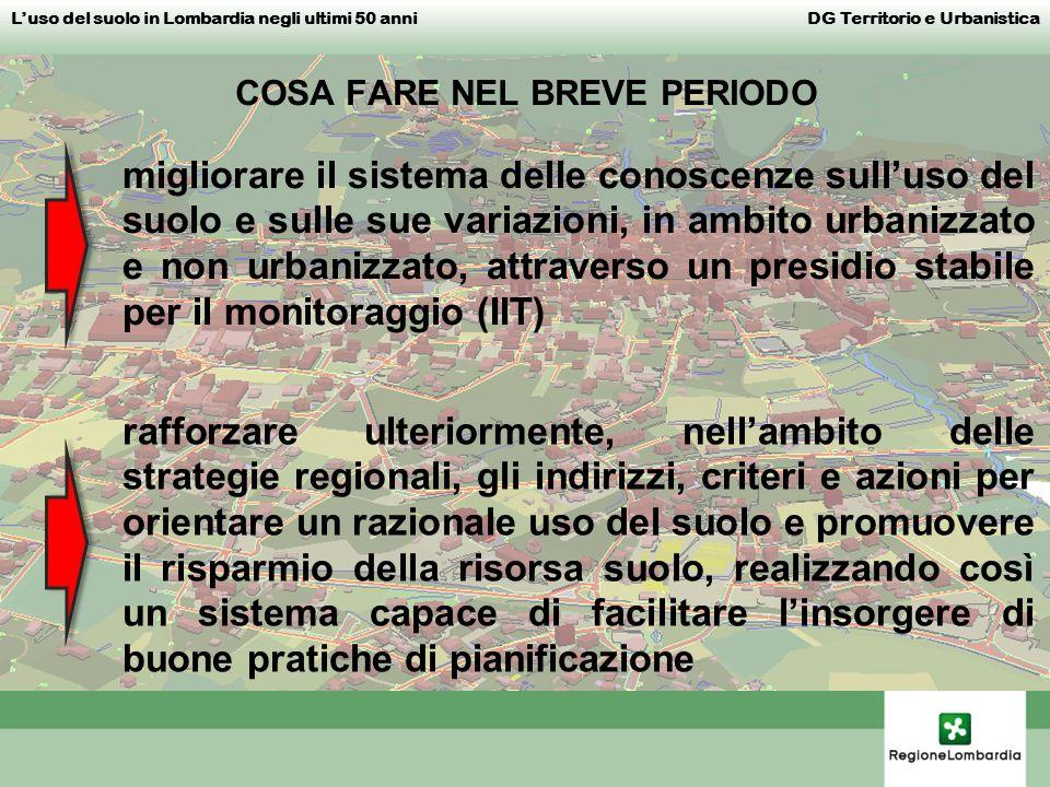 Luso del suolo in Lombardia negli ultimi 50 anni DG Territorio e Urbanistica rafforzare ulteriormente, nellambito delle strategie regionali, gli indir