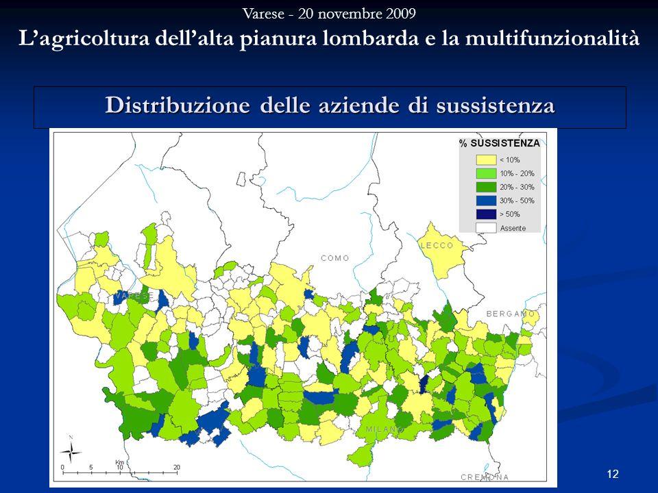 Varese - 20 novembre 2009 Lagricoltura dellalta pianura lombarda e la multifunzionalità 12 Distribuzione delle aziende di sussistenza