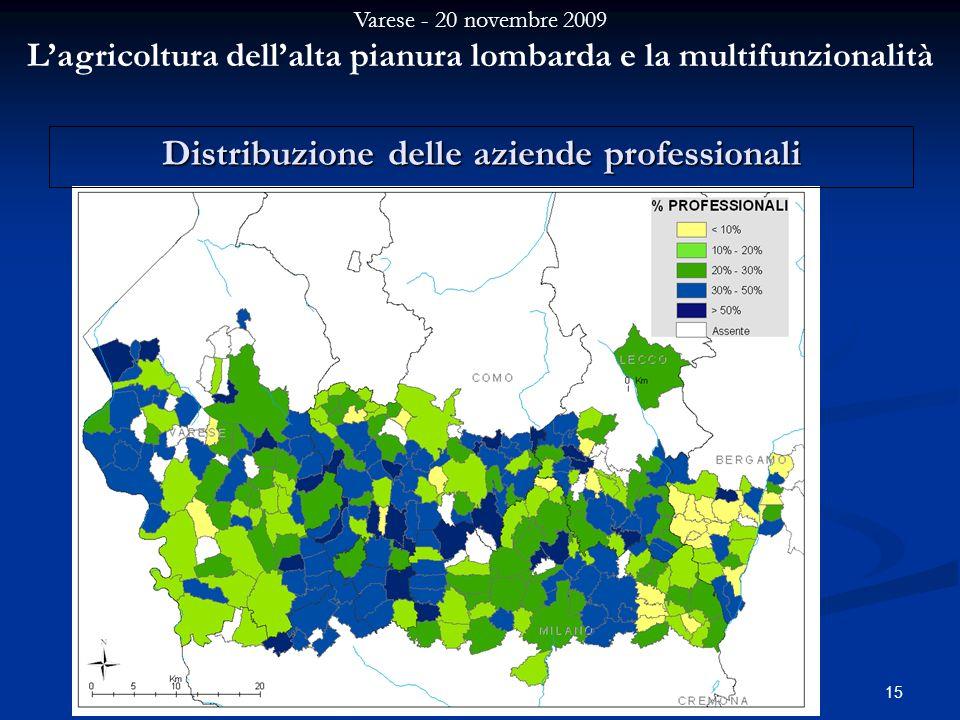 Varese - 20 novembre 2009 Lagricoltura dellalta pianura lombarda e la multifunzionalità 15 Distribuzione delle aziende professionali