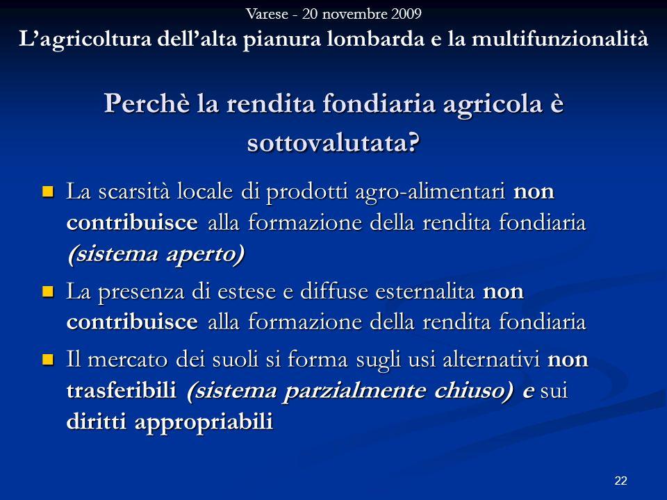 Varese - 20 novembre 2009 Lagricoltura dellalta pianura lombarda e la multifunzionalità 22 Perchè la rendita fondiaria agricola è sottovalutata.