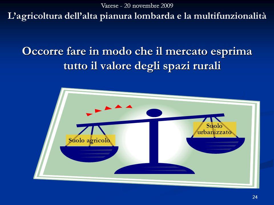 Varese - 20 novembre 2009 Lagricoltura dellalta pianura lombarda e la multifunzionalità 24 Occorre fare in modo che il mercato esprima tutto il valore degli spazi rurali Suolo agricolo Suolo urbanizzato