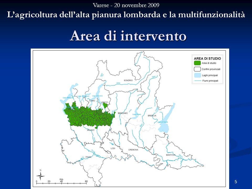 Varese - 20 novembre 2009 Lagricoltura dellalta pianura lombarda e la multifunzionalità 5 Area di intervento
