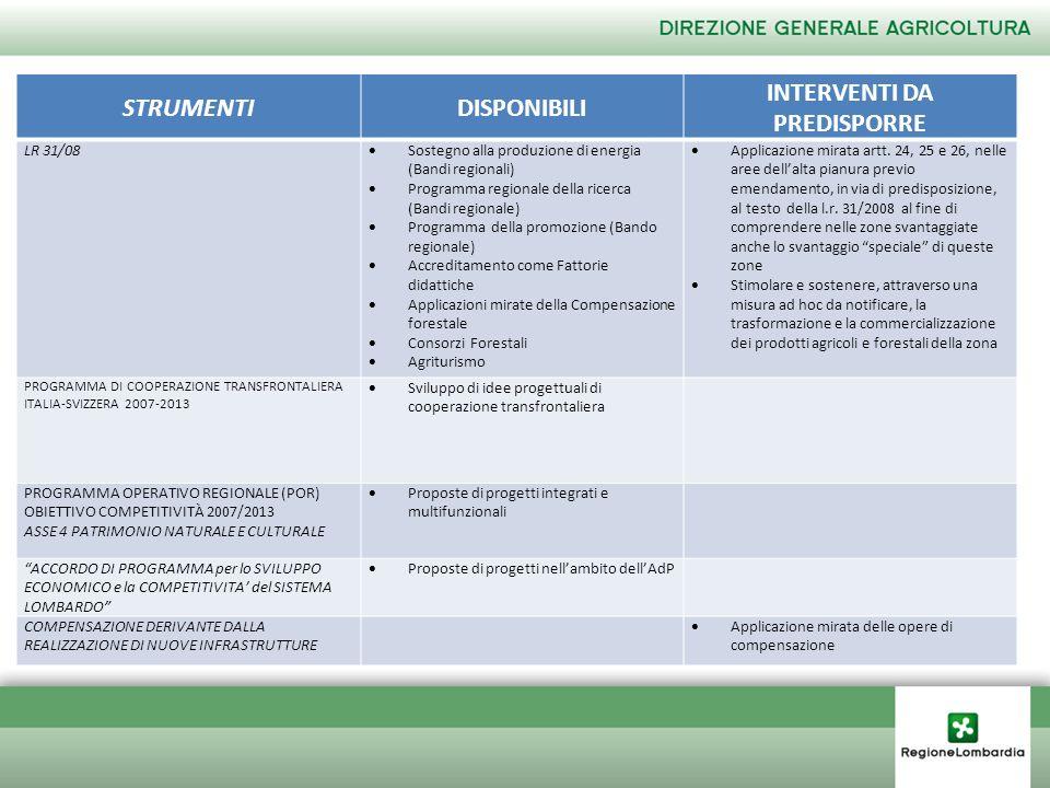 STRUMENTIDISPONIBILI INTERVENTI DA PREDISPORRE PROGRAMMA COMUNITARIO REG.