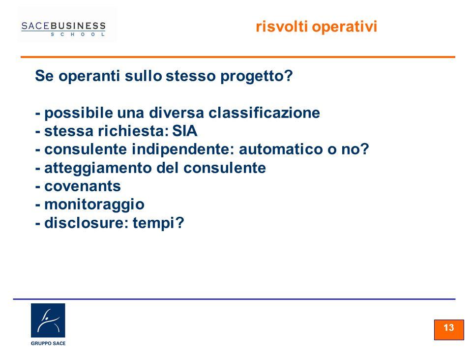 13 risvolti operativi Se operanti sullo stesso progetto? - possibile una diversa classificazione - stessa richiesta: SIA - consulente indipendente: au
