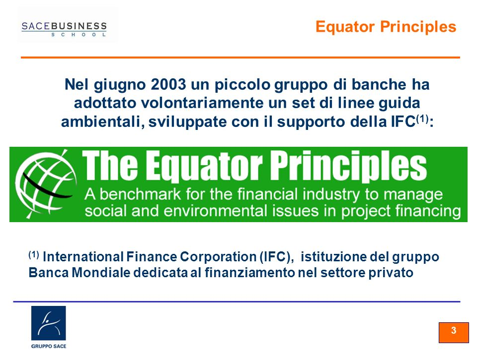33 3 Equator Principles Nel giugno 2003 un piccolo gruppo di banche ha adottato volontariamente un set di linee guida ambientali, sviluppate con il su