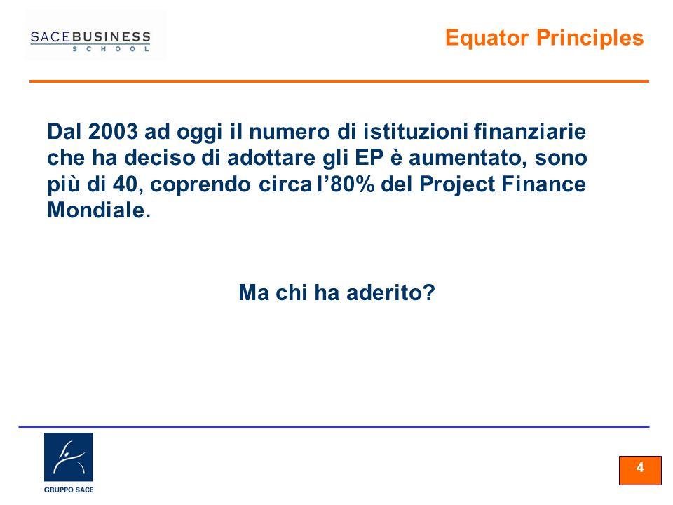 44 4 Equator Principles Dal 2003 ad oggi il numero di istituzioni finanziarie che ha deciso di adottare gli EP è aumentato, sono più di 40, coprendo c