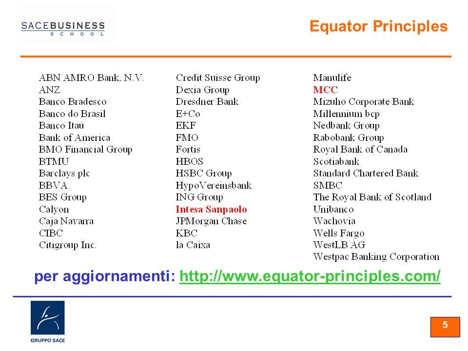 55 5 Equator Principles per aggiornamenti: http://www.equator-principles.com/