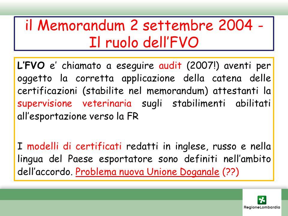 il Memorandum 2 settembre 2004 - Il ruolo dellFVO LFVO e chiamato a eseguire audit (2007!) aventi per oggetto la corretta applicazione della catena de