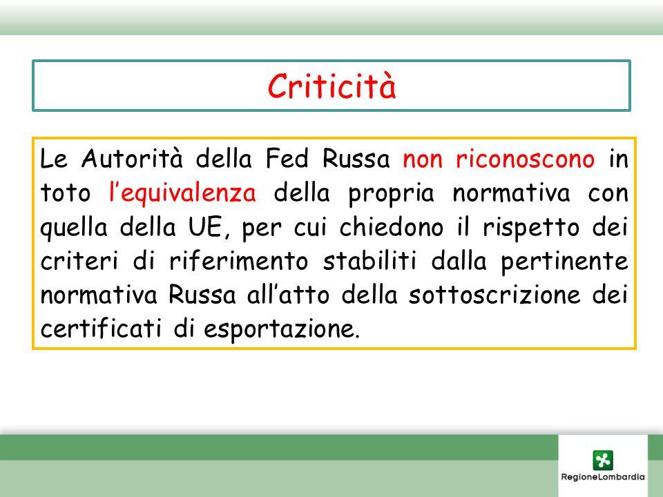 Criticità Le Autorità della Fed Russa non riconoscono in toto lequivalenza della propria normativa con quella della UE, per cui chiedono il rispetto d