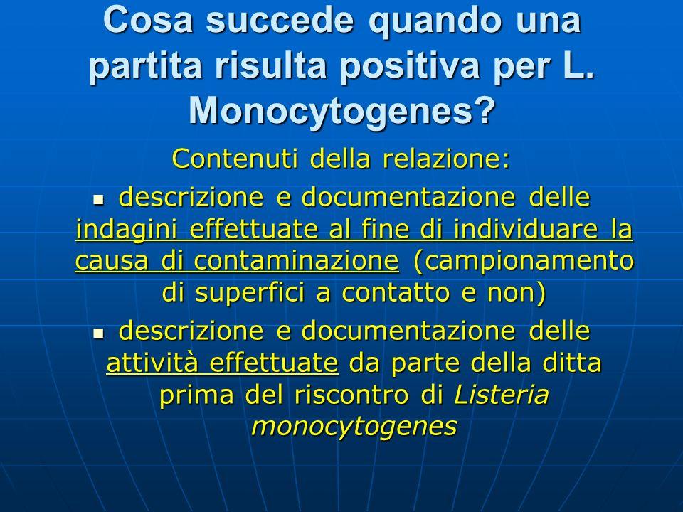Cosa succede quando una partita risulta positiva per L. Monocytogenes? Contenuti della relazione: descrizione e documentazione delle indagini effettua