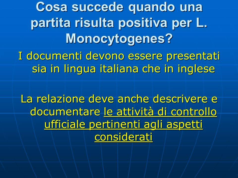Cosa succede quando una partita risulta positiva per L. Monocytogenes? I documenti devono essere presentati sia in lingua italiana che in inglese La r
