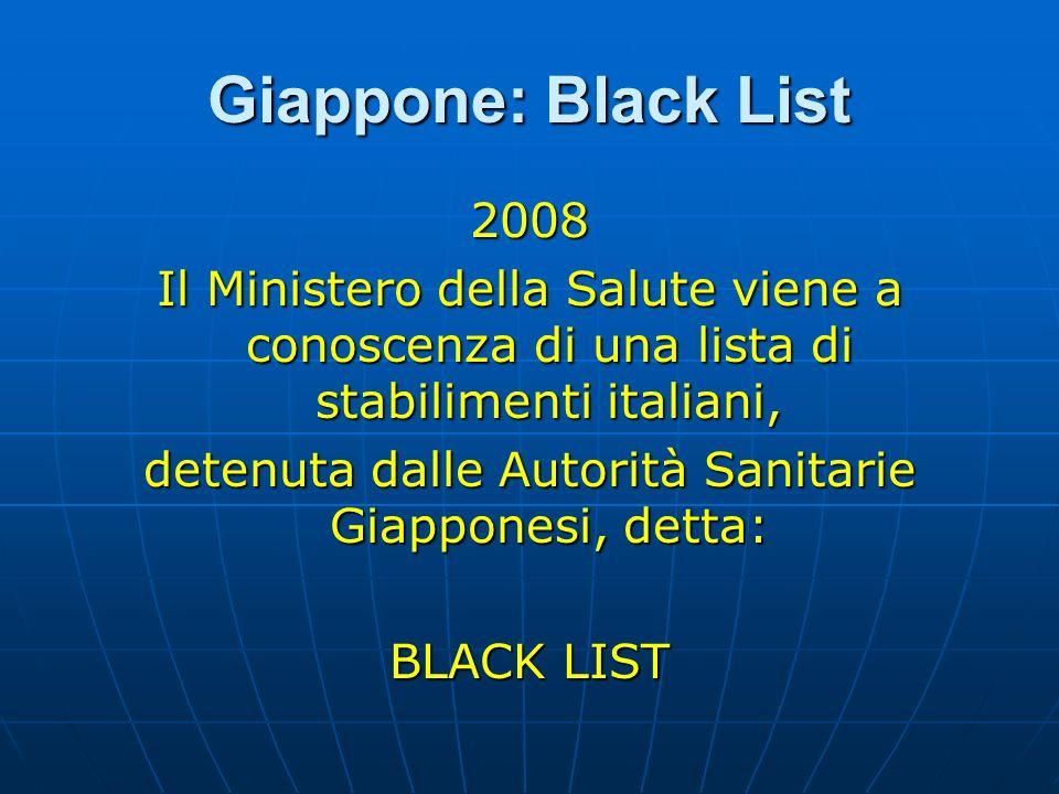 Giappone: Black List 2008 Il Ministero della Salute viene a conoscenza di una lista di stabilimenti italiani, detenuta dalle Autorità Sanitarie Giappo