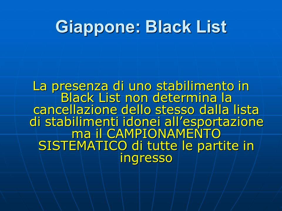 Giappone: Black List La presenza di uno stabilimento in Black List non determina la cancellazione dello stesso dalla lista di stabilimenti idonei alle