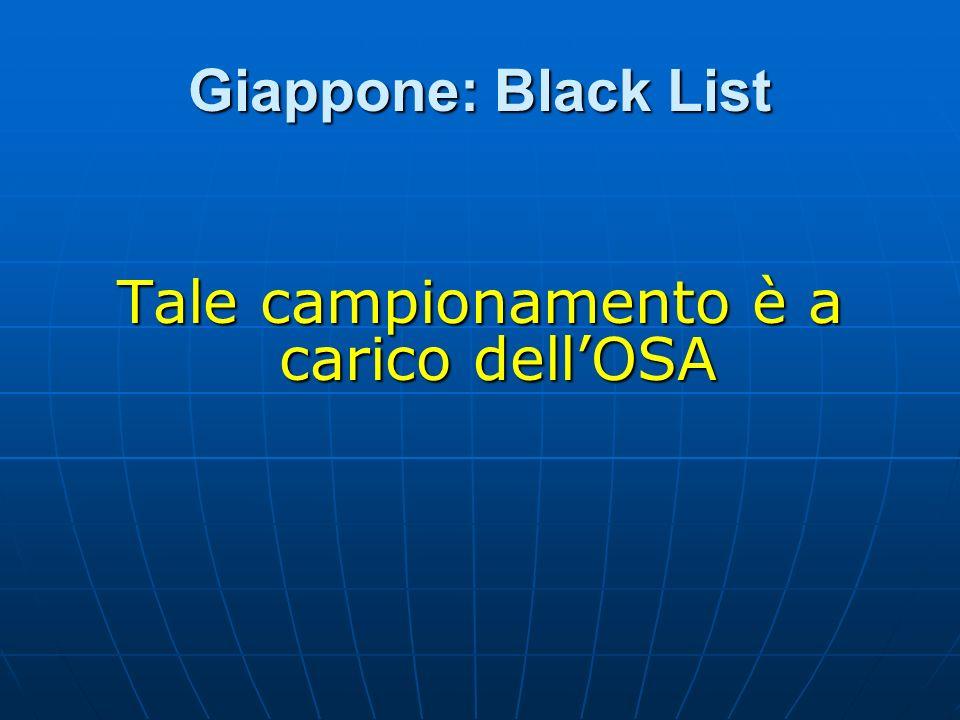 Giappone: Black List Tale campionamento è a carico dellOSA