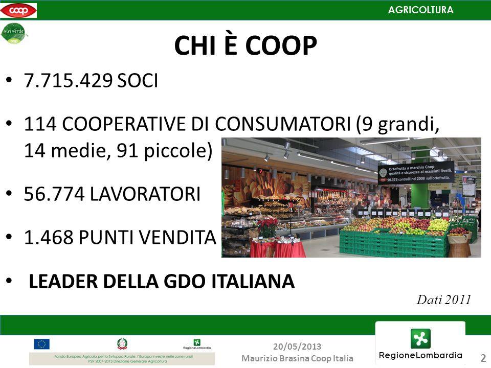 CHI È COOP 7.715.429 SOCI 114 COOPERATIVE DI CONSUMATORI (9 grandi, 14 medie, 91 piccole) 56.774 LAVORATORI 1.468 PUNTI VENDITA LEADER DELLA GDO ITALI