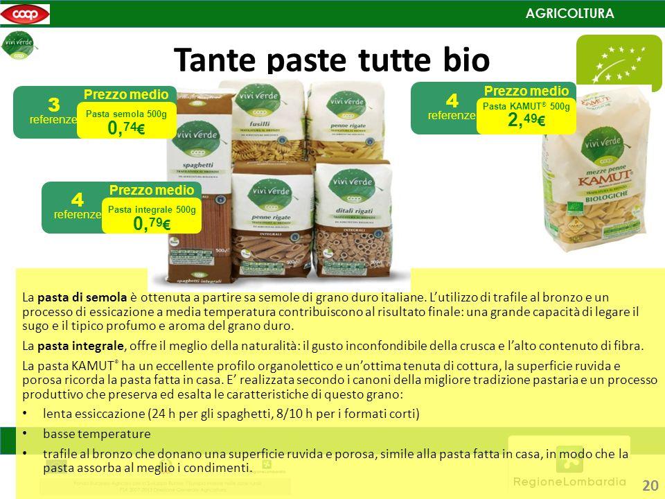 Tante paste tutte bio La pasta di semola è ottenuta a partire sa semole di grano duro italiane. Lutilizzo di trafile al bronzo e un processo di essica