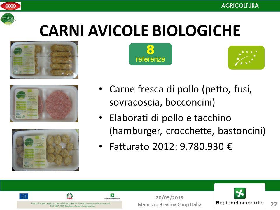 CARNI AVICOLE BIOLOGICHE 8 referenze Carne fresca di pollo (petto, fusi, sovracoscia, bocconcini) Elaborati di pollo e tacchino (hamburger, crocchette