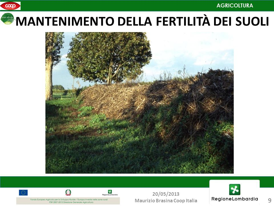 MANTENIMENTO DELLA FERTILITÀ DEI SUOLI 9 20/05/2013 Maurizio Brasina Coop Italia