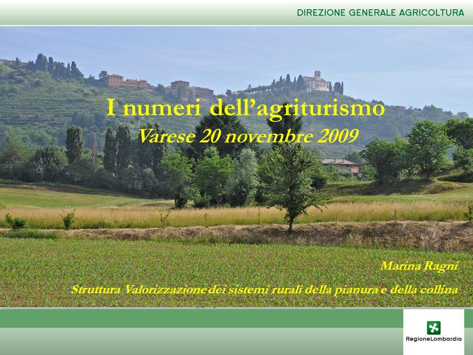 I numeri dellagriturismo Varese 20 novembre 2009 Marina Ragni Struttura Valorizzazione dei sistemi rurali della pianura e della collina I numeri della