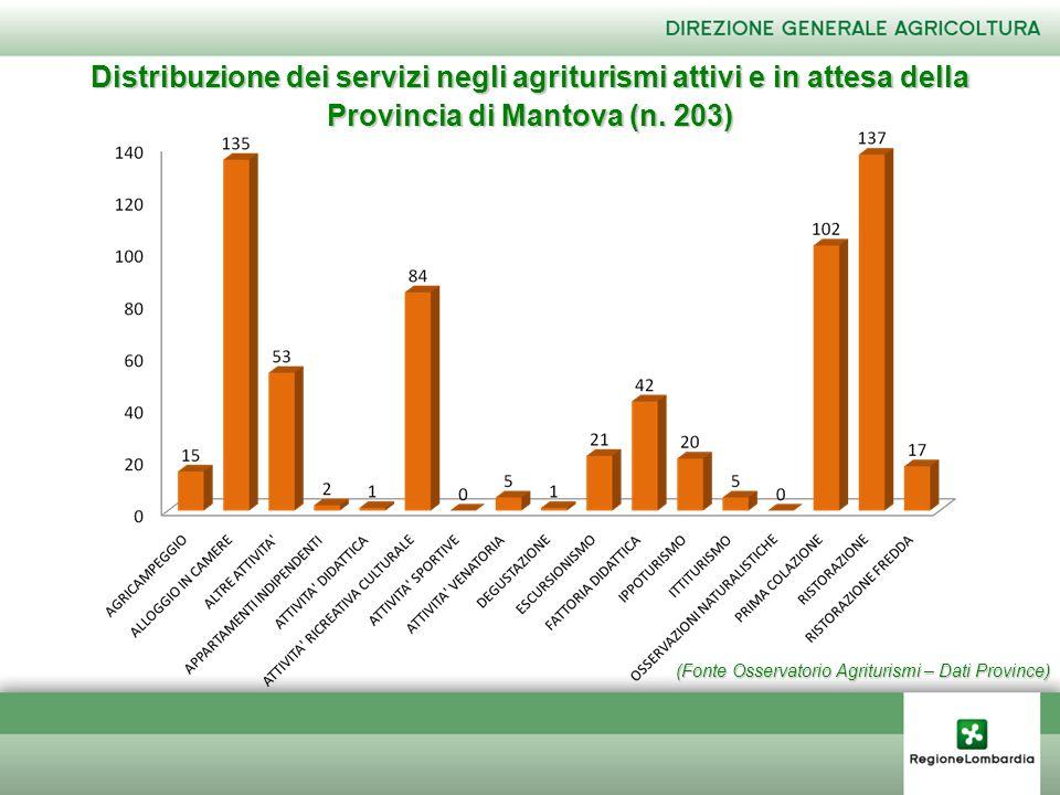 (Fonte Osservatorio Agriturismi – Dati Province) Distribuzione dei servizi negli agriturismi attivi e in attesa della Provincia di Mantova (n. 203)