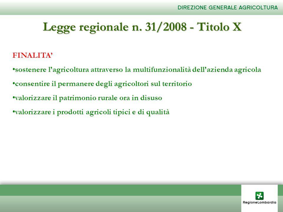 FINALITA sostenere lagricoltura attraverso la multifunzionalità dellazienda agricola consentire il permanere degli agricoltori sul territorio valorizz
