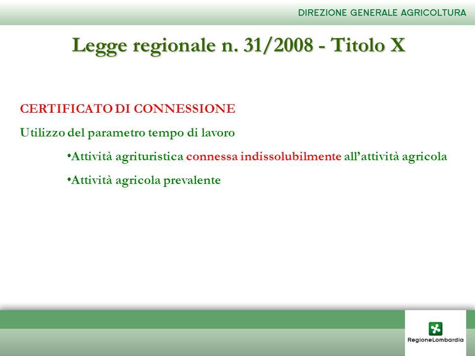 Legge regionale n. 31/2008 - Titolo X CERTIFICATO DI CONNESSIONE Utilizzo del parametro tempo di lavoro Attività agrituristica connessa indissolubilme