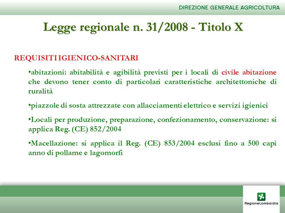 Legge regionale n. 31/2008 - Titolo X REQUISITI IGIENICO-SANITARI abitazioni: abitabilità e agibilità previsti per i locali di civile abitazione che d