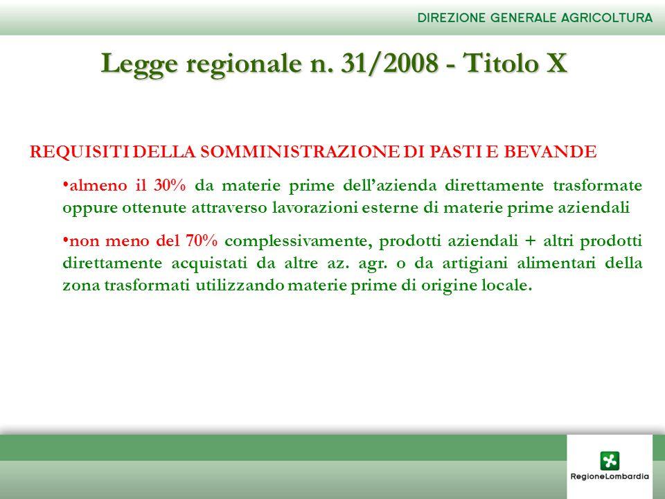 Legge regionale n. 31/2008 - Titolo X REQUISITI DELLA SOMMINISTRAZIONE DI PASTI E BEVANDE almeno il 30% da materie prime dellazienda direttamente tras