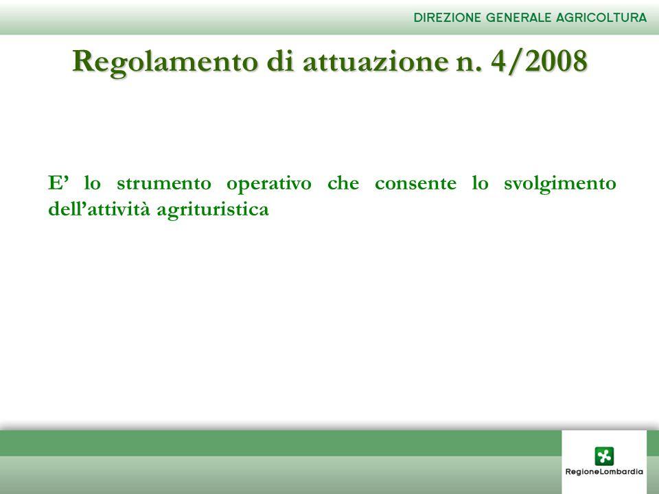 Regolamento di attuazione n. 4/2008 E lo strumento operativo che consente lo svolgimento dellattività agrituristica
