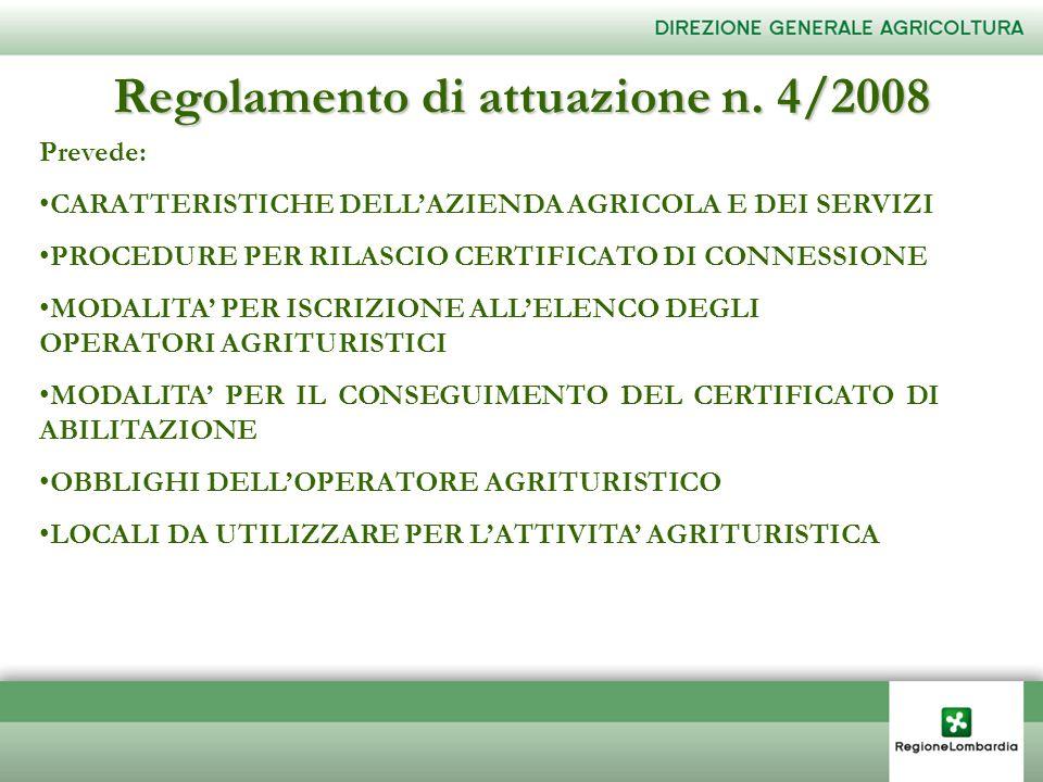 Regolamento di attuazione n. 4/2008 Prevede: CARATTERISTICHE DELLAZIENDA AGRICOLA E DEI SERVIZI PROCEDURE PER RILASCIO CERTIFICATO DI CONNESSIONE MODA