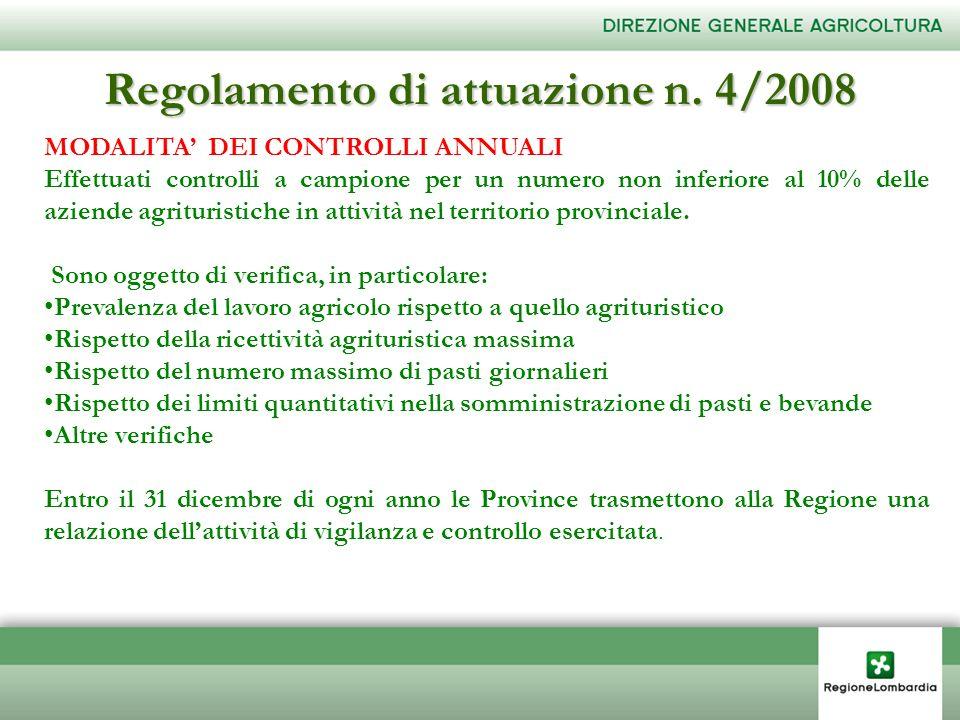 Regolamento di attuazione n. 4/2008 MODALITA DEI CONTROLLI ANNUALI Effettuati controlli a campione per un numero non inferiore al 10% delle aziende ag