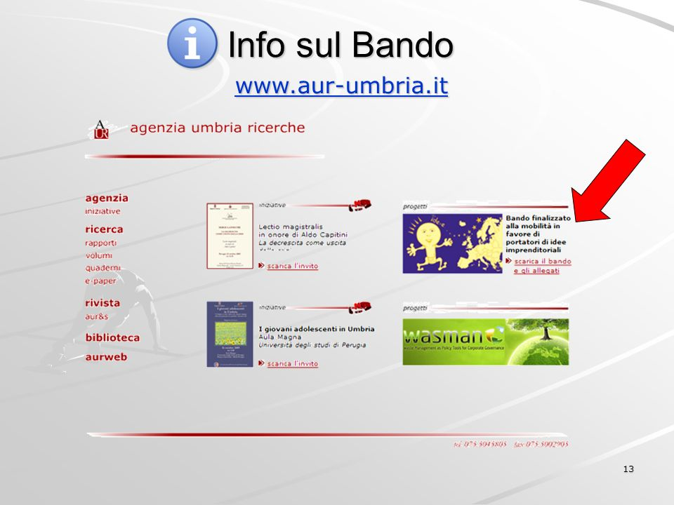 13 Info sul Bando www.aur-umbria.it