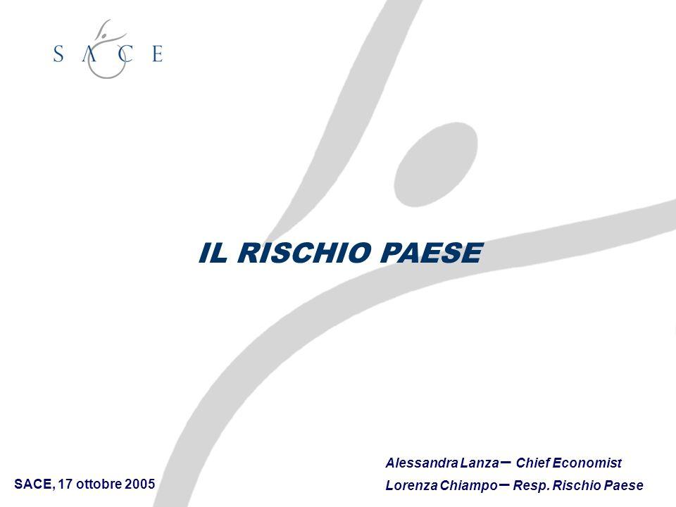 SACE, 17 ottobre 2005 Alessandra Lanza – Chief Economist Lorenza Chiampo – Resp. Rischio Paese IL RISCHIO PAESE