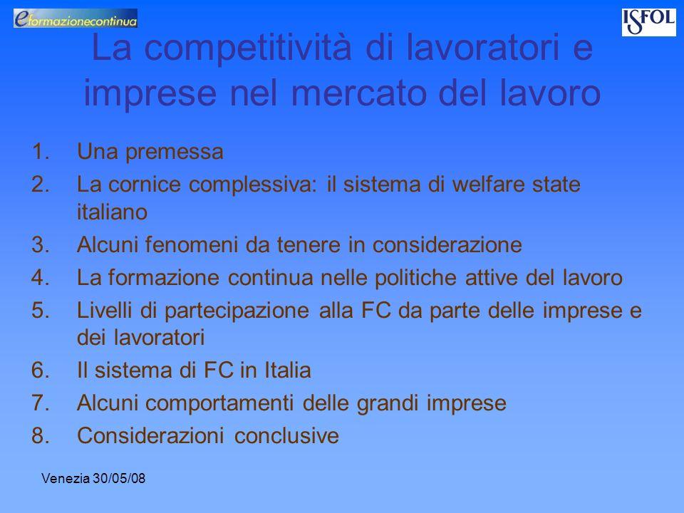 Venezia 30/05/08 La competitività di lavoratori e imprese nel mercato del lavoro 1.Una premessa 2.La cornice complessiva: il sistema di welfare state