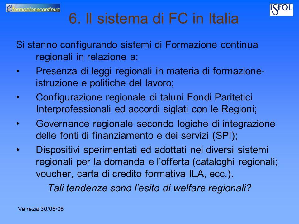 Venezia 30/05/08 6. Il sistema di FC in Italia Si stanno configurando sistemi di Formazione continua regionali in relazione a: Presenza di leggi regio