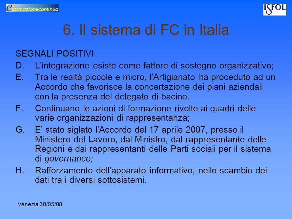 Venezia 30/05/08 6. Il sistema di FC in Italia SEGNALI POSITIVI D.Lintegrazione esiste come fattore di sostegno organizzativo; E.Tra le realtà piccole