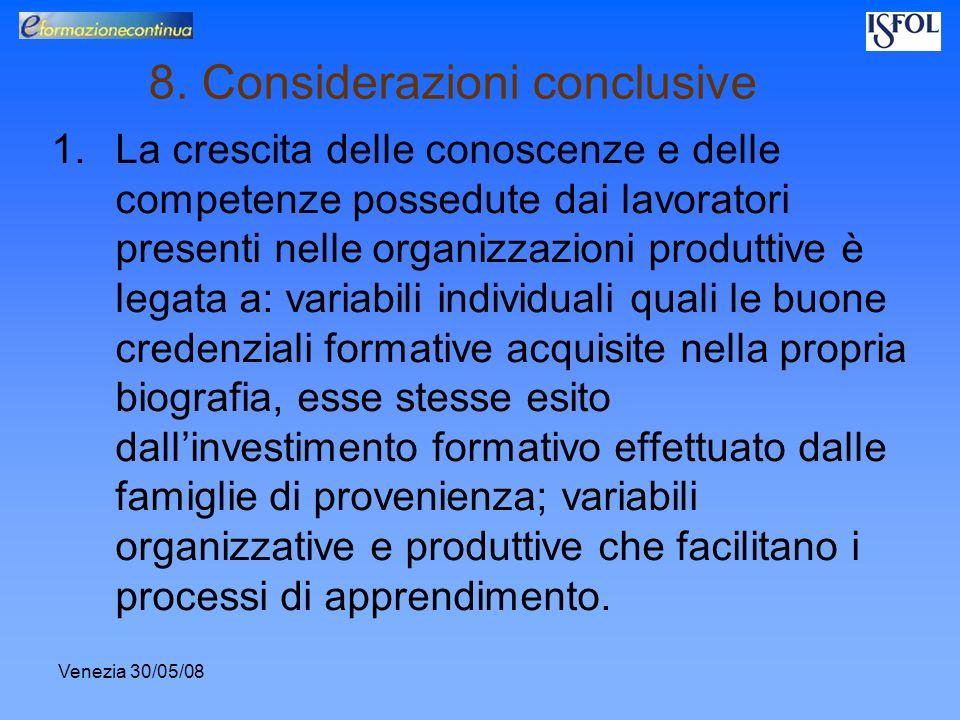 Venezia 30/05/08 8. Considerazioni conclusive 1.La crescita delle conoscenze e delle competenze possedute dai lavoratori presenti nelle organizzazioni