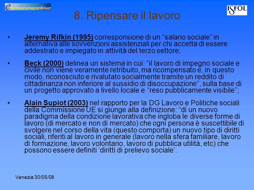 Venezia 30/05/08 8. Ripensare il lavoro Jeremy Rifkin (1995) corresponsione di un salario sociale in alternativa alle sovvenzioni assistenziali per ch