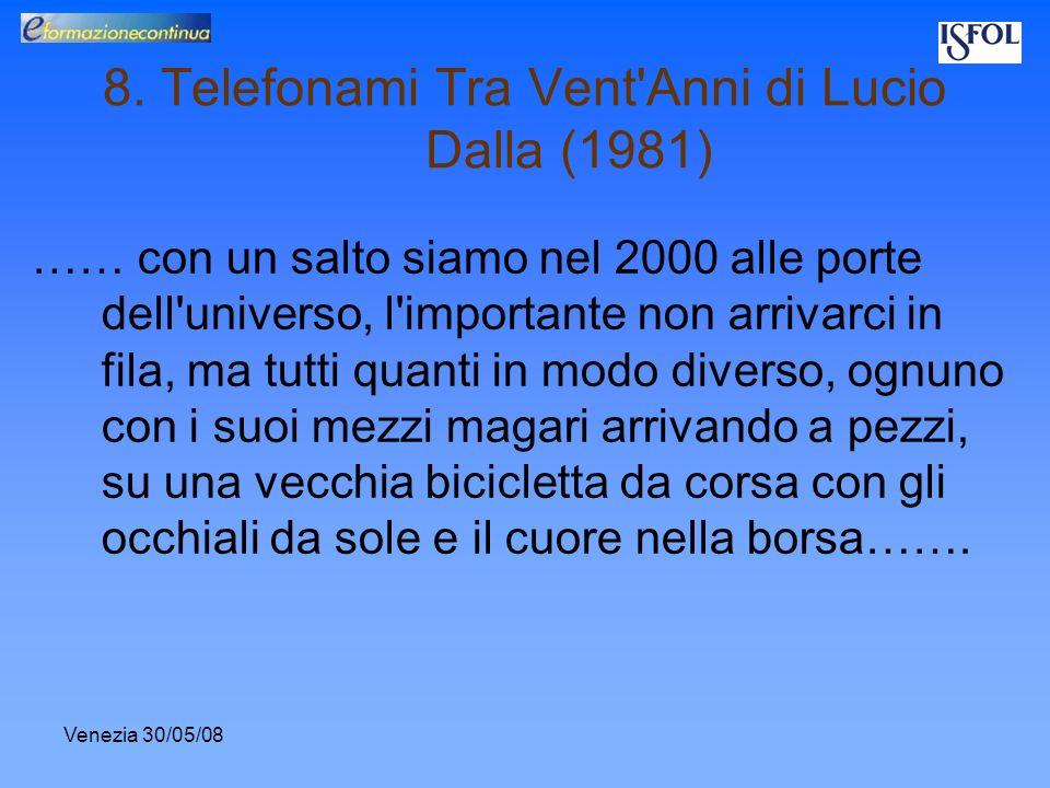 Venezia 30/05/08 8. Telefonami Tra Vent'Anni di Lucio Dalla (1981) …… con un salto siamo nel 2000 alle porte dell'universo, l'importante non arrivarci