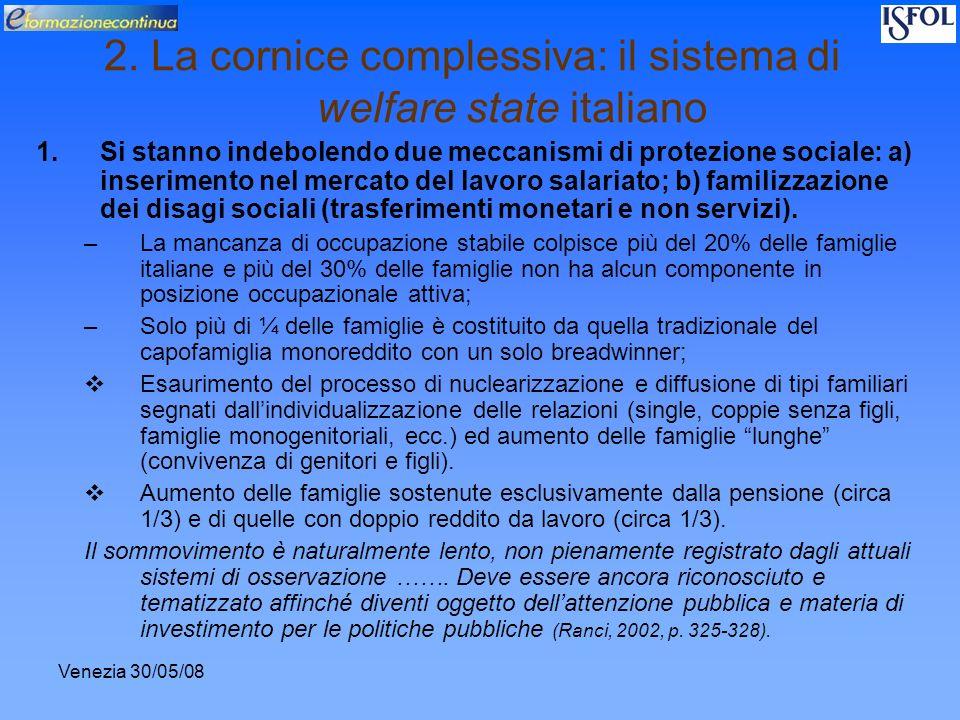 Venezia 30/05/08 2. La cornice complessiva: il sistema di welfare state italiano 1.Si stanno indebolendo due meccanismi di protezione sociale: a) inse