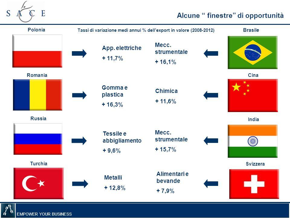 EMPOWER YOUR BUSINESS Alcune finestre di opportunità Polonia Romania Russia Turchia Brasile Cina India Svizzera App. elettriche + 11,7% Gomma e plasti