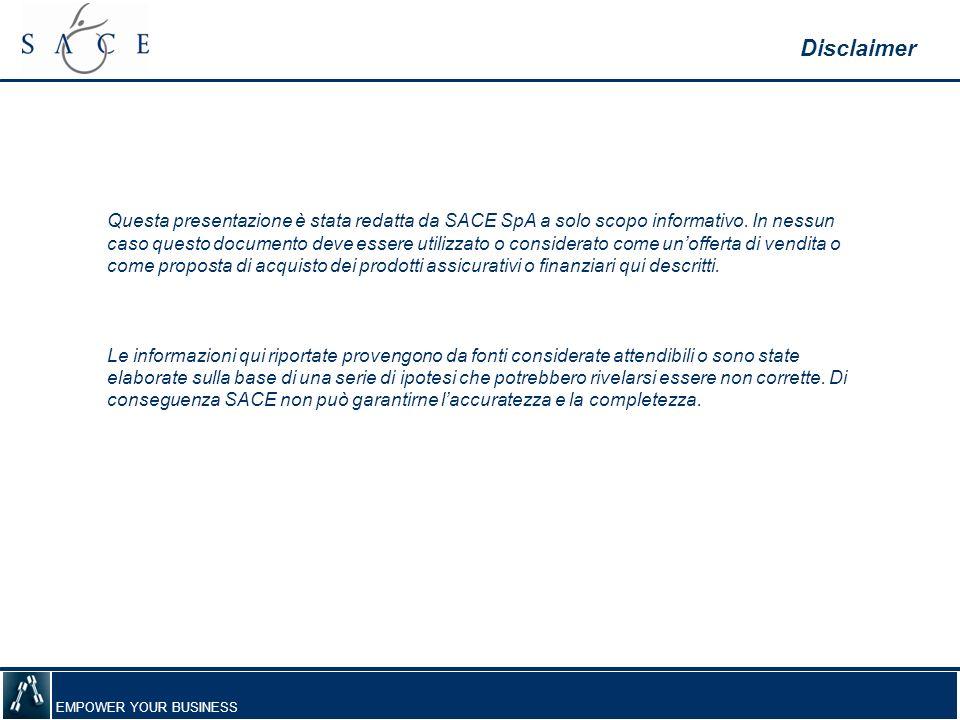 EMPOWER YOUR BUSINESS Questa presentazione è stata redatta da SACE SpA a solo scopo informativo. In nessun caso questo documento deve essere utilizzat