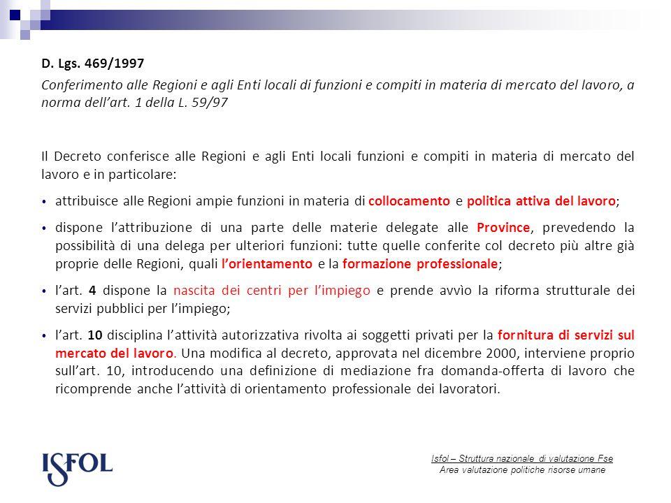 Isfol – Struttura nazionale di valutazione Fse Area valutazione politiche risorse umane D.