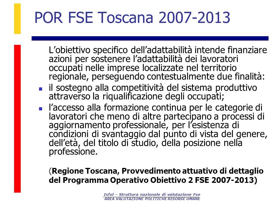 Isfol – Struttura nazionale di valutazione Fse AREA VALUTAZIONE POLITICHE RISORSE UMANE POR FSE Toscana 2007-2013 Lobiettivo specifico delladattabilit