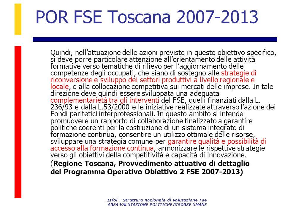 Isfol – Struttura nazionale di valutazione Fse AREA VALUTAZIONE POLITICHE RISORSE UMANE POR FSE Toscana 2007-2013 Quindi, nellattuazione delle azioni