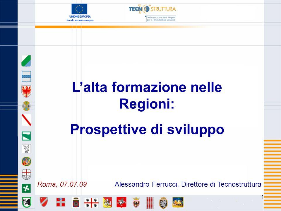 1 Lalta formazione nelle Regioni: Prospettive di sviluppo Alessandro Ferrucci, Direttore di TecnostrutturaRoma, 07.07.09